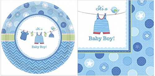 Christening Lunch Napkins - Shower with Love It's a Baby Boy Plates and Napkin Set (48 Pieces)