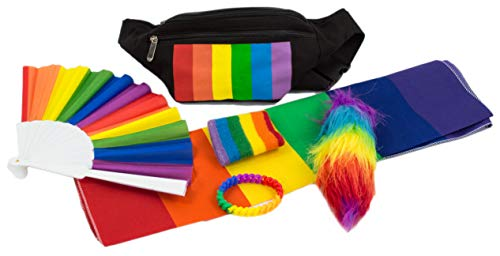Parade Accessories - LGBT Gay Pride Rainbow Fanny Pack Bandana Foxtail Bracelet Parade Accessories Kit
