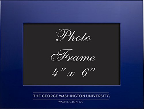 George Washington University - 4x6 Brushed Metal Picture Frame - Blue