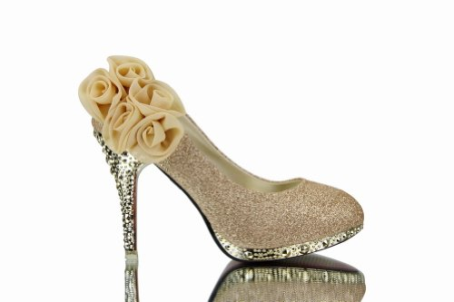 WeenFashion Women's Shiny Pumps with Five Flowers Floriation, Gold, 8 B(M) US