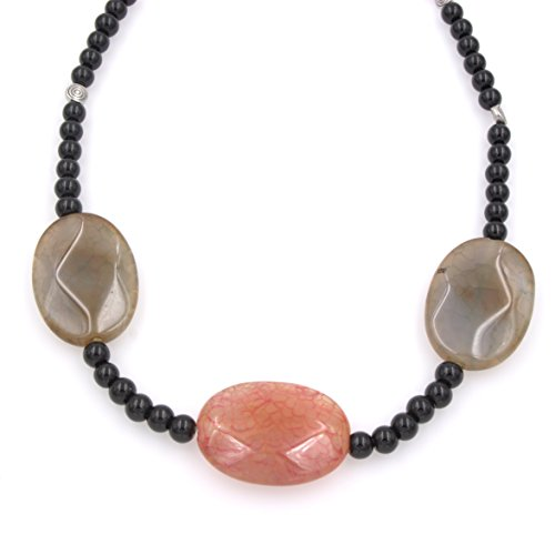 Grey & Red Agate Gemstones Necklace - Black Glass Beads, Metal Disc Beads, 16.5-in ()