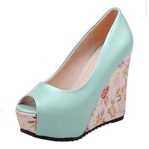 Zapatos Moda RAZAMAZA Toe Azul Cuna Tacon Peep Sandalias Verano de Plataforma Mujer Alta gw5CqP