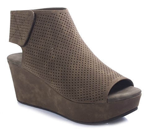 -2 Women's Perforated Platform Wedge Peep Toe Ankle Bootie,Taupe, 8M ()