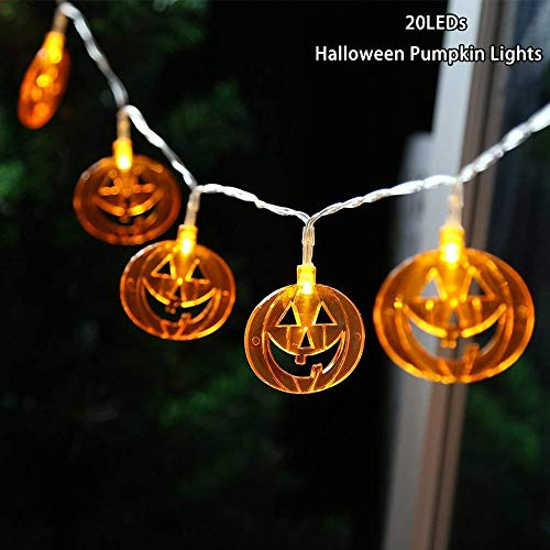 YSJ Halloween Pumpkin LED Fairy Lights 20 LEDs Battery Operated String Lights for Halloween Decorations