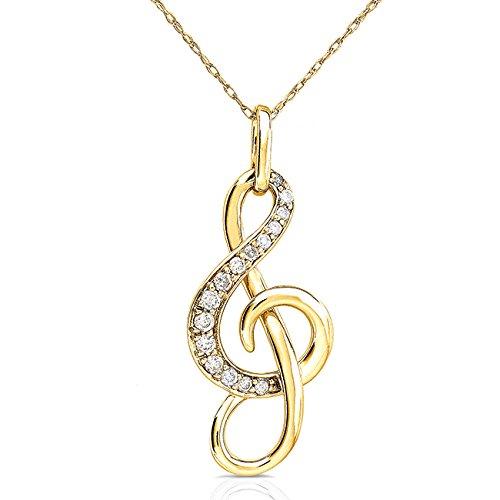 Diamant (Note de musique Clé de Sol) Pendentif et chaîne en or 14K