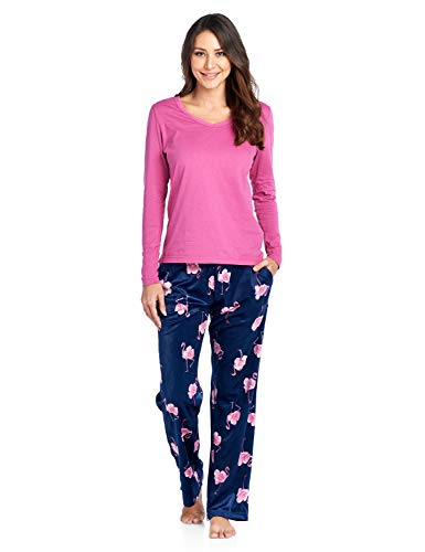 Ashford & Brooks Women's Long Sleeve Cotton Top with Mink Fleece Pants Pajama Set - Navy Pink Flamingo - - Top Pink Fleece