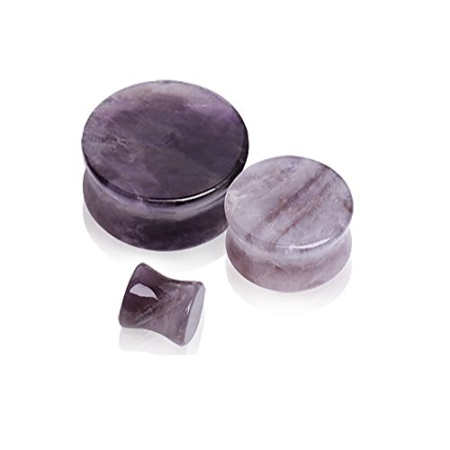 Natural Amethyst Semi-Precious Stone Saddle Plugs - Sold as a Pair - Multiple Sizes Available (12mm (1/2
