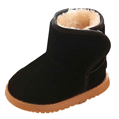 Axinke Toddlers Girls Boys Winter Warm Slip-on Anti-slip Design Sole Kids Snow Boots (Age:4-5 Years Length:14.5CM, Black)