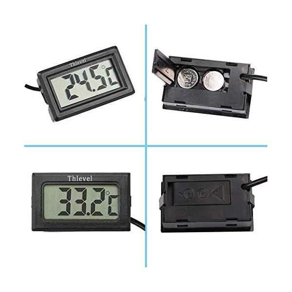 Thlevel 4PCS LCD Digitale Termometro con Sonda Esterna Impermeabile per Frigorifero, Congelatore, Acquario (4X Nero) 2