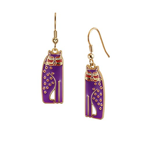 Laurel Burch Siamese Cats Purple Cloisonne Dangle Earrings ()