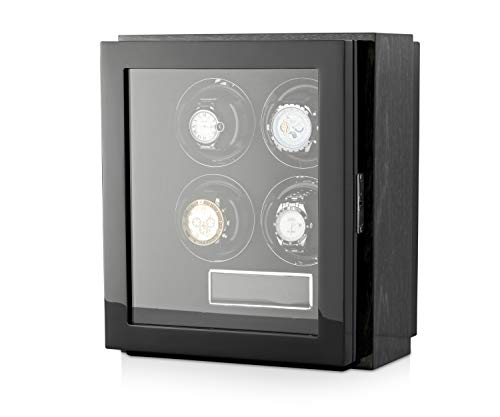Quad Watch Winder Box for Self-Winding 4 Automatic Watches with LED Case Backlight and LCD Display for All Watch Brands and All Watch Sizes (Black Apricot)