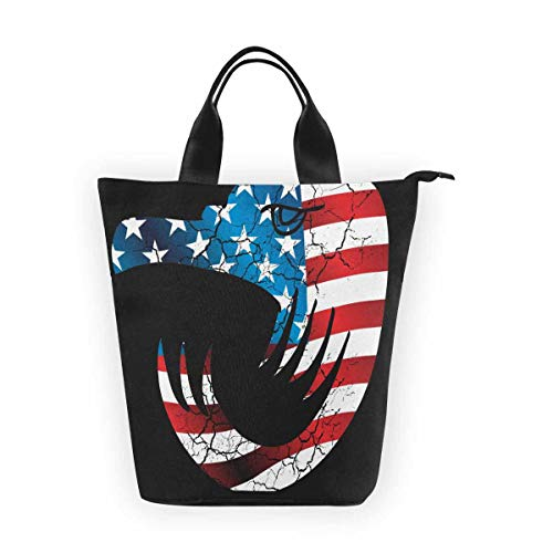 InterestPrint Nylon Cylinder Lunch Bag American Flag Eagle Head Reusable Large Lunchbox Grocery Bag