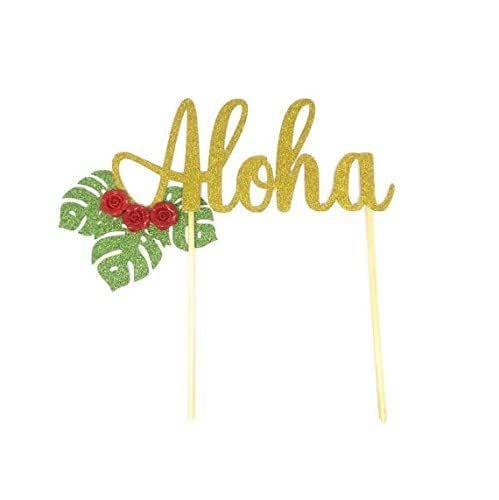5aeba864687c8 Amazon.com: 1 pc Aloha script cake topper luau floral tropical party ...