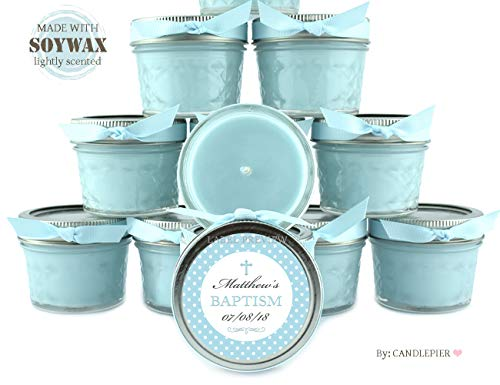 12 Blue Baby boy Polka dots Baptism Favors | 4oz Personalized soycandles | Christening Table Decor, Centerpiece | Custom Stickers Labels