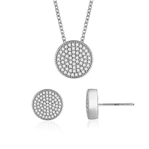 Gercia 14K White Gold Jewelry Set 5A Cubic Zirconia Pendant Necklace and Stud Earrings Round Necklace Earring Set Birthday for Women Girls - Jewelry Necklace Pendant Set
