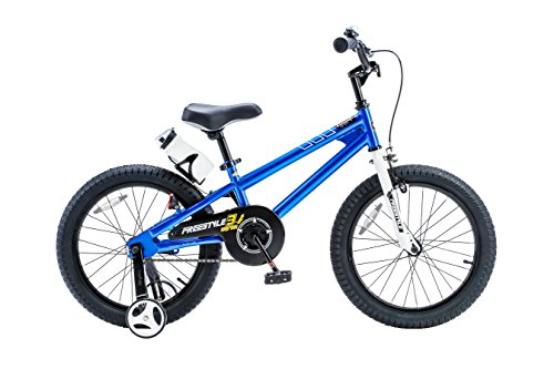Royalbaby RB18B-6B BMX Freestyle Kids Bike, Boy's Bikes and Girl's Bikes with training wheels, Gifts for children, 18 inch wheels, Blue (Bmx 18 Inch Freestyle Bike)
