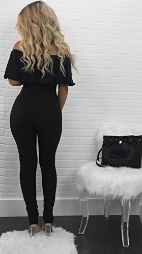 PRETTYGARDEN Off Shoulder Sleeve Hollow Out Sexy Women Bodycon Long Jumpsuit Rompers (Large, Off Shoulder Black) by PRETTYGARDEN (Image #3)