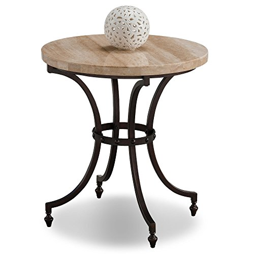 - Leick Home Round Travertine Stone Top Side Table