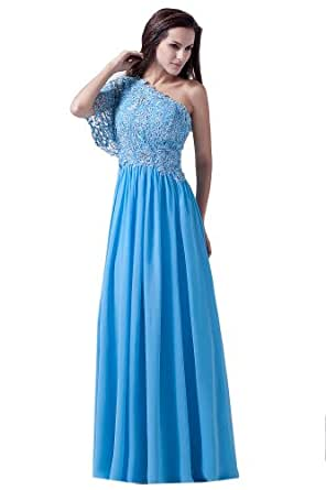 Dlass One Sleeves Lace Bodice Long Prom Dresses Blue (US6