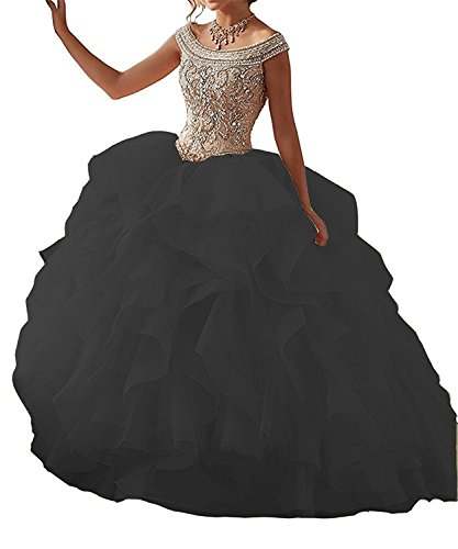 HeleneBridal Women's Girl's Ball Gown Halter Ruffled Quinceanera Dress Sweet 16 Prom (Halter Quinceanera Gown)
