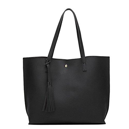 Female Single Shoulder Bag Tassel Shopping Bag, Black Black