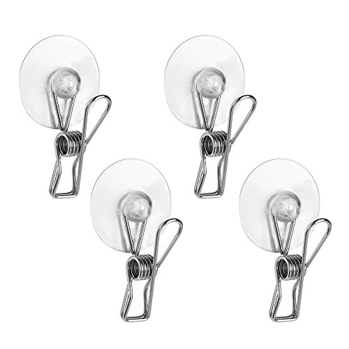 InterDesign Bath Shower Suction Clip (Set of 4), Polished Stainless Steel