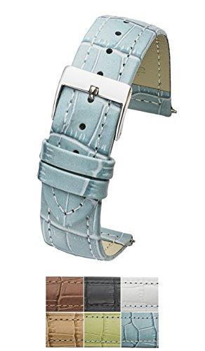 Genuine Leather in Alligator Grain Watch Band - 12mm -Baby Blue