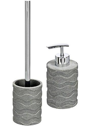Wenko 2tlg Juego accesorios baño Wave Dark Stone - Escobillero de WC + Dispensador de jabón de polirresina: Amazon.es: Hogar