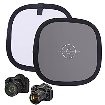 12 inch Camera Balance Card Folding 18/% Grey Card Double Face Pure White Balance Focus 30CM with Nylon Carry Case