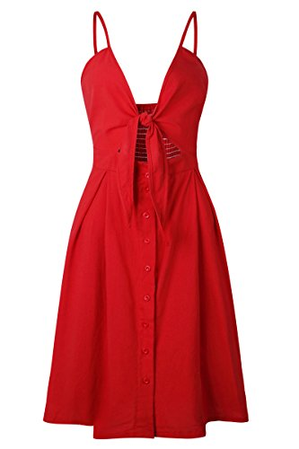 Haloon Woman's Front Tie Knot Cut Out Bandeau Top Dress Button Midi Skirt Red M