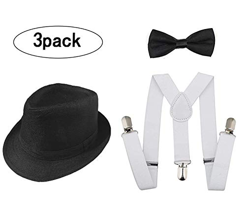 1920s Set Fedora Gangster Hat Costume Accessory Y-Back Suspenders & Pre Tied Bow Tie,Men's Roaring 1920s Set Manhattan Fedora Hat Men (black +white)