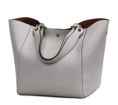 Obosoyo Women's Waterproof Handbags Ladies Synthetic Leather Tote Shoulder Bags Fashion Travelling Mommy Soft Hot Purse Grey