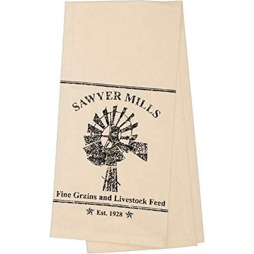 - VHC Brands Farmhouse Housewarming Tabletop Sawyer Mill Windmill Fabric Loop Cotton Stenciled Muslin Graphic/Print Kitchen Towel Antique Creme White