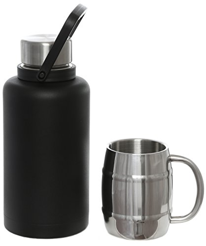 MIRA Stainless Steel Vacuum Insulated Water Bottle Beer Growler Set | 40 Oz Thermos Flask Keeps Drinks Cold 24 hours or Hot 12 hours | BONUS: 15 Oz Beer Mug