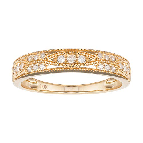 (10k Yellow Gold Milgrain Diamond Wedding Anniversary Band (1/5 cttw, I-J, I2-I3))