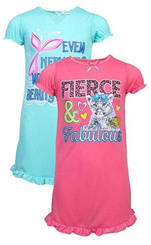 'Sweet & Sassy Girls Glitter Printed Ruffled Nightgown, Size 12, Mermaid/Cat, Pack of (Ruffled Nightgown)