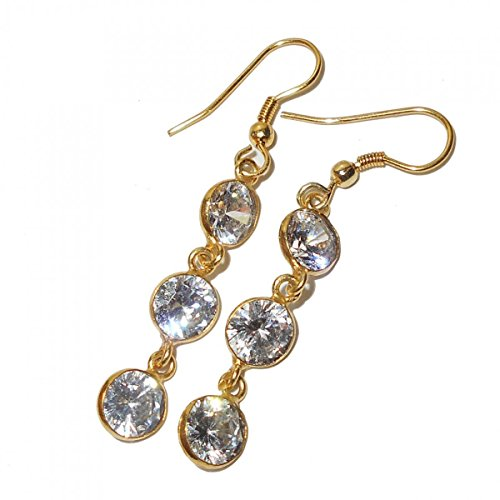 - Sitara Collections SC103046 Gold-Plated Brass Earrings White Cubic Zircon