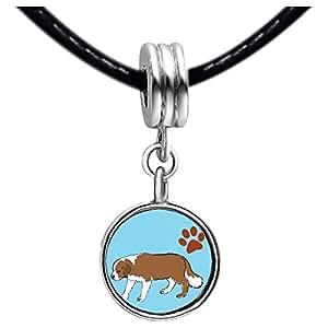 Chicforest Silver Plated Saint Bernard Dog Photo Blue Aquamarine Crystal March Birthstone Flower dangle Charm Beads Fits Pandora Bracelets