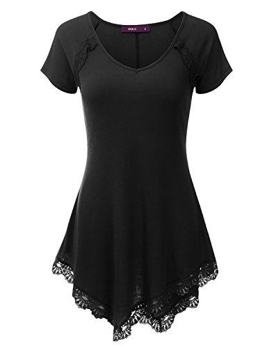 Doublju Lace Hem Asymmetrical Tunic Dress Top for Women with Plus Size Black X ()