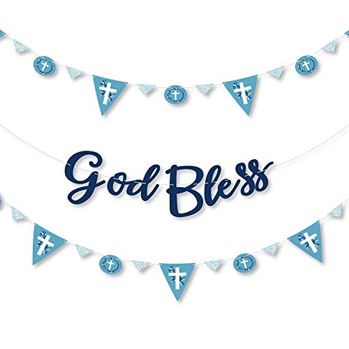 Big Dot of Happiness Blue Elegant Cross - Boy Religious Party Letter Banner Decoration - 36 Banner Cutouts and God Bless Banner Letters ()