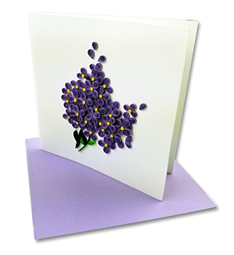 Lilac Bouquet Quilling Greeting Card, 6x6