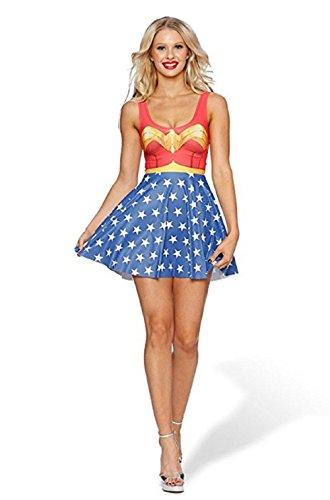 WW5 Wonder Woman One Piece Adult Teen Sleeveless Dress Costume Halloween