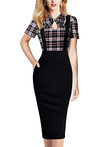 VFSHOW Womens Red Black White Check Retro Keyhole Bow Pockets Colorblock Work Business Cocktail Midi Sheath Dress 2635 RED S