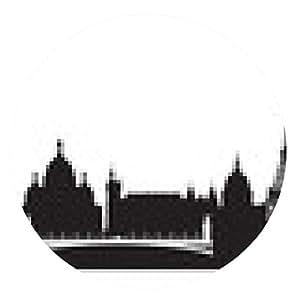 alfombrilla de ratón París Francia horizonte de la ciudad vector silueta - ronda - 20cm
