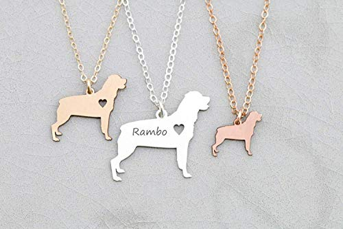 Rottweiler Dog Necklace - IBD - Docked Tail - Rott Rottie - Personalize Name - Pendant Size Options -935 Sterling Silver 14K Rose Gold Filled Charm - Fast 1 Day Production