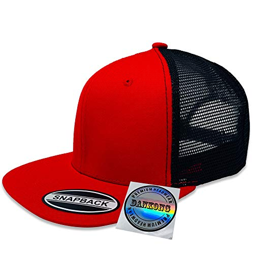 (DANKONG 6 Panels Trucker Hat - Classic Flat Bill Visor Baseball with Mesh Snapback for Hot Weather, Summer, Outdoor, Running, Car Driving, Vacation, Fishing, Sport - Red/Black)