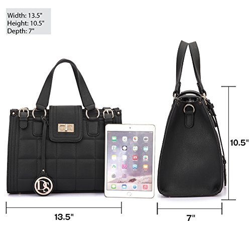 2 Black Women Wallet 08 Bag Bags Handbags Twist Bags Dasein Lock Work Satchel Without Quilted Designer Bags Structured with Shoulder Single 6893 Taagpqw