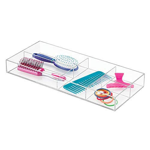 InterDesign Clarity Divided Tray Organizer for Drawer, Bathroom, Countertop, Desk, and Vanity,