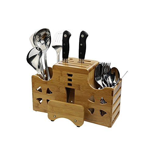Eagrye Bamboo Knife Block, Cutting Board and Kitchen Utensils Holder, Storage Rack