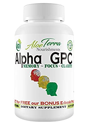 Alpha GPC Choline-Gluten Free 100% Natural- Brain Booster for Memory Focus and Clarity Improvement, 300mg 60 Veg Caps, Enhance Cognitive Functions + HUGE BONUS Pack+90 Days Guarantee Made in USA
